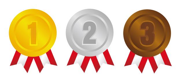 ランキングメダル アイコンセット(1位~3位) 金銀銅