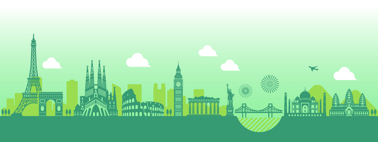 世界の有名な建築物・世界遺産・ランドマーク 横並び風景イラスト
