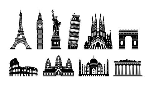 世界の有名な建築物(遺跡・建物・世界遺産・ランドマーク)白黒イラストセット