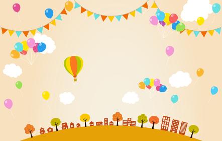 秋の街並みと風船 フェスティバル ガーランド