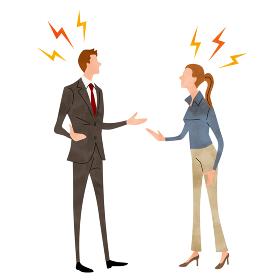 イラスト素材:ビジネスシーン、言い合う、男性、女性