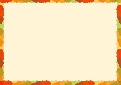 色とりどりの紅葉 モミジ 楓 秋色のオーナメント 秋のイメージ 葉のオーナメント 飾り罫