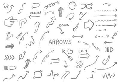 滲んでいるやさしい雰囲気の手書きの文字が入っているたくさんの種類の矢印のベクターイラスト