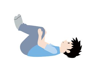 膝を抱えるストレッチをしているイラスト