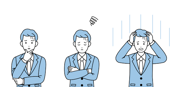 ビジネスマン 会社員 スーツ姿の男性 困る 不安 仕草