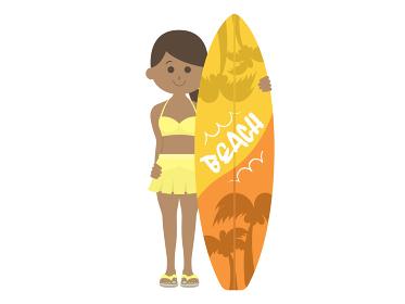 日焼けした女性サーファーのイラスト