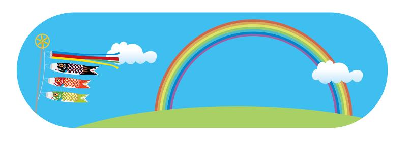子供の日こどもの日端午の節句用イラストバナー|子供の日こどもの日端午の節句用イラストバナー|楕円形青