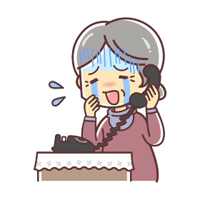 固定電話で高齢の女性(涙)