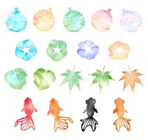 暑中見舞い・残暑見舞いで使える夏の風物詩 水彩イラストセット