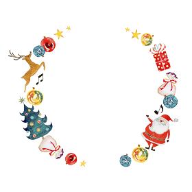 クリスマス サンタクロース フレーム 水彩 イラスト