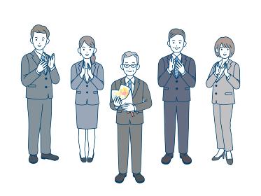 定年退職 年配の男性 拍手 祝う 会社員 スーツ姿 男女 全身 イラスト素材