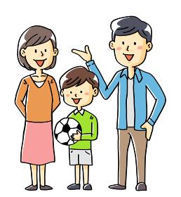 手描きイラスト素材家族夫婦子供サッカー少年