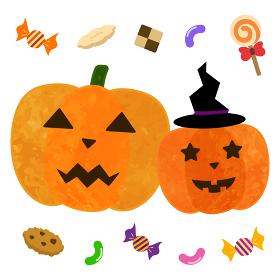 ハロウィン かぼちゃとお菓子
