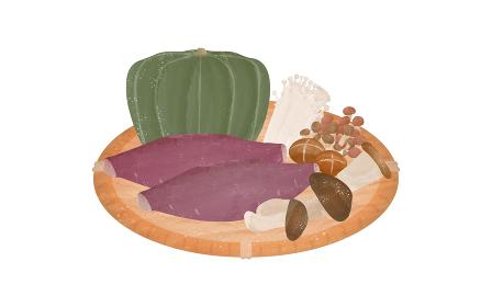 食材のイラスト、ざるに乗った秋の味覚の透明水彩風.ベクターイラスト
