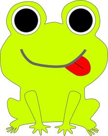 舌を出すカエルのイラスト素材
