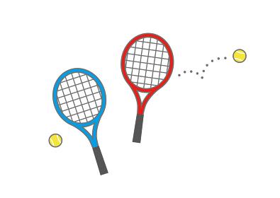 赤と青のテニスラケットとテニスボール