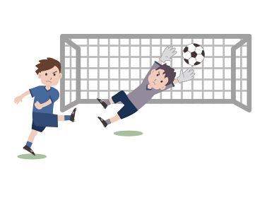 サッカー シュート ゴールキーパー