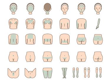女性の体のパーツのベクターイラストセット レーザー脱毛