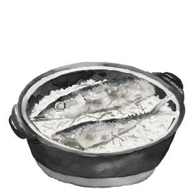 土鍋秋刀魚ごはん サンマ 新米 秋の味覚 料理 モノトーン 白背景【水墨画風】