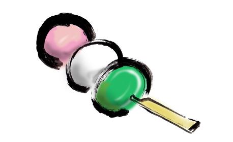 和風手描きイラスト素材 和菓子 三色団子, 三色団子 団子 三色だんご