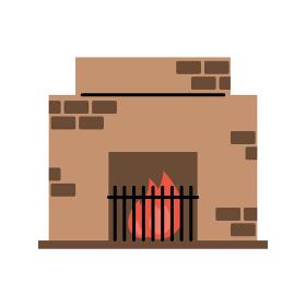 暖炉 シンプル・ペン画風イラスト