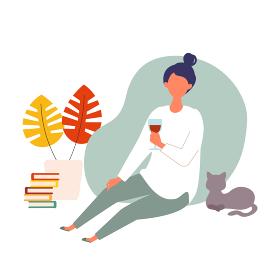 自宅で秋のワインを楽しむ女性のイラスト