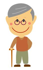 デフォルメ・二頭身 日本人 老人・シニア・おじいさん 全身人物イラスト
