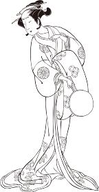 浮世絵 歌舞伎役者 女性 その3 白黒