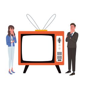 レトロなテレビとビジネスマンのイラスト