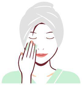 若い日本人女性 風呂上がり・バスタイム 上半身イラスト / コットン・メイク落とし