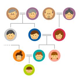 家系図・ファミリー・家族構成 イラスト / 大家族
