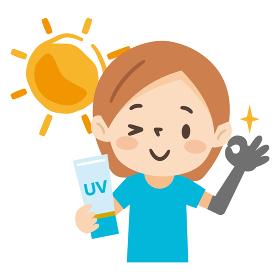日焼け対策をした若い女性のイラストレーション