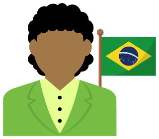 女性ビジネスマン (OL) +国旗 イラスト (上半身・顔なしシルエット)/ ブラジル