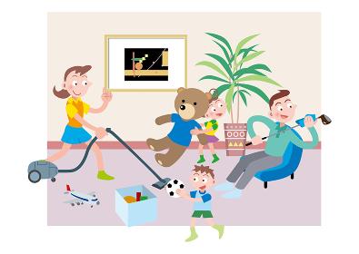 ゴルフクラブを磨く父親と掃除をする母親と片付けをする姉弟