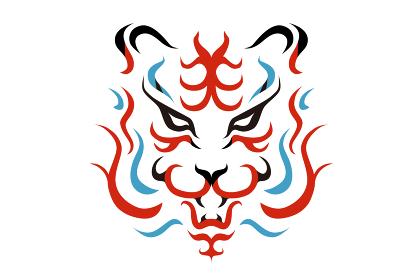 歌舞伎の隈取風の虎の顔のベクター イラスト