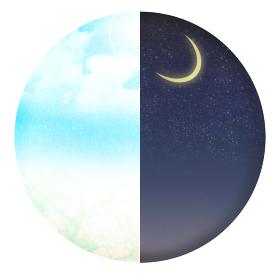 昼と夜 朝と夜 時間帯別の丸いイラスト