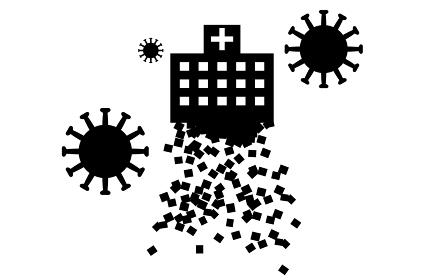 コロナによる医療崩壊で崩れていく病院のイメ