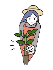 苗をつかむ農家のおしゃれな女性(ロングヘア)・1人のイラスト