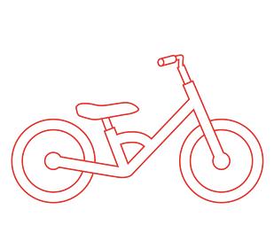 子供・幼児用キックバイク線画イラスト バランスバイク自転車