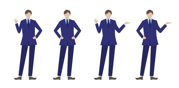 スーツ姿の男性ポーズセット 人物フラットイラスト