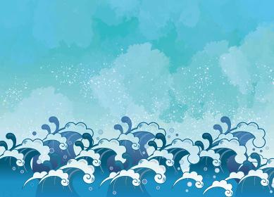 和風の海と波しぶき
