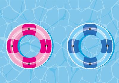 夏のイメージのイラスト|海プールに浮かぶピンクとブルーの浮き輪|暑中見舞い