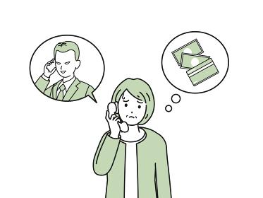 振り込め詐欺 オレオレ詐欺 電話 年配の女性 イラスト素材