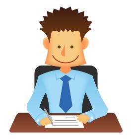 日本人 若い男性サラリーマン・ビジネスマン 上半身イラスト (書類を書く・デスクワーク)