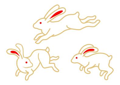 飛び跳ねる三匹のウサギ - 十五夜素材