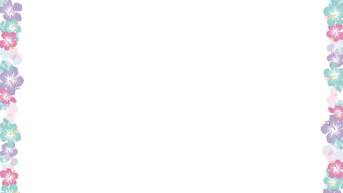 ファンシーなハイビスカス。枠飾り、左右の背景装飾フレーム(16:9比率)