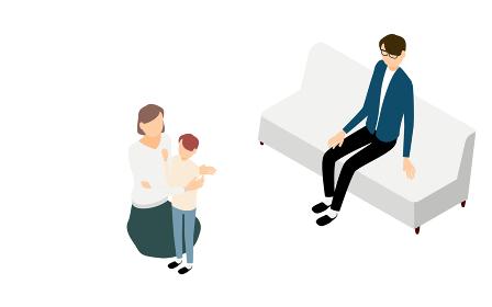 アイソメトリック、ソファでくつろぐ父親と子