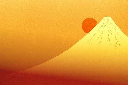 金色に輝く富士山と日の出のイラスト