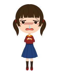 鼻水のたれている風邪を引いた女の子の全身イ