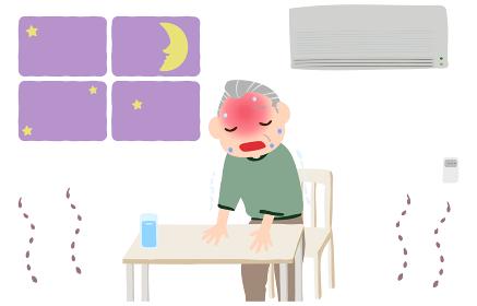 エアコンをつけずに熱中症になる老人のイラスト